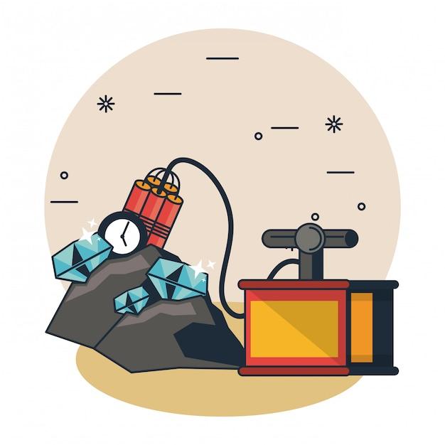 Mining cave cartoons Premium Vector