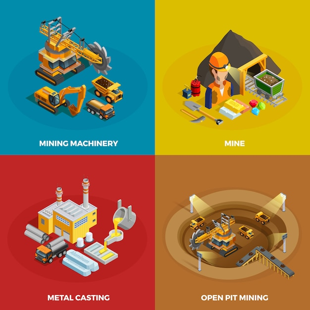 Mining concept icons set Free Vector