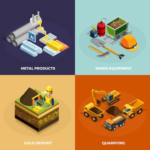 Mining concept isometric icons set Free Vector