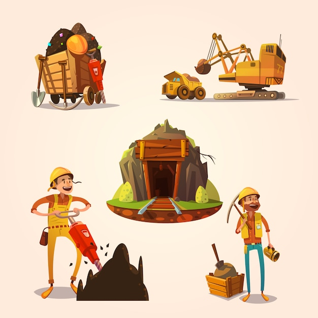 Mining concept set with retro cartoon style\ labor workers cartoon style