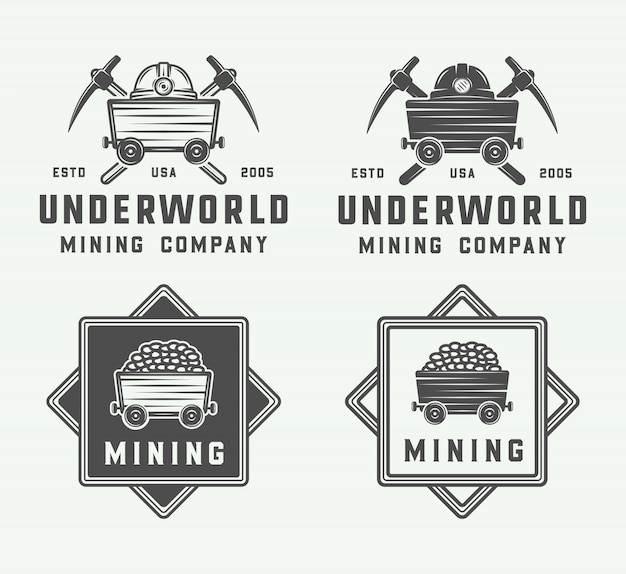 Mining or construction logo set Premium Vector