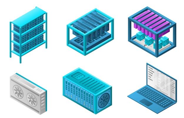 Mining farm bitcoin icons set, isometric style Premium Vector
