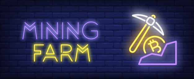 Mining farm illustration in neon style. text, pick and bitcoin on brick wall background Free Vector