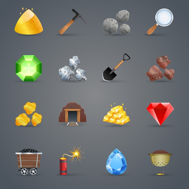 Mining game icons Free Vector
