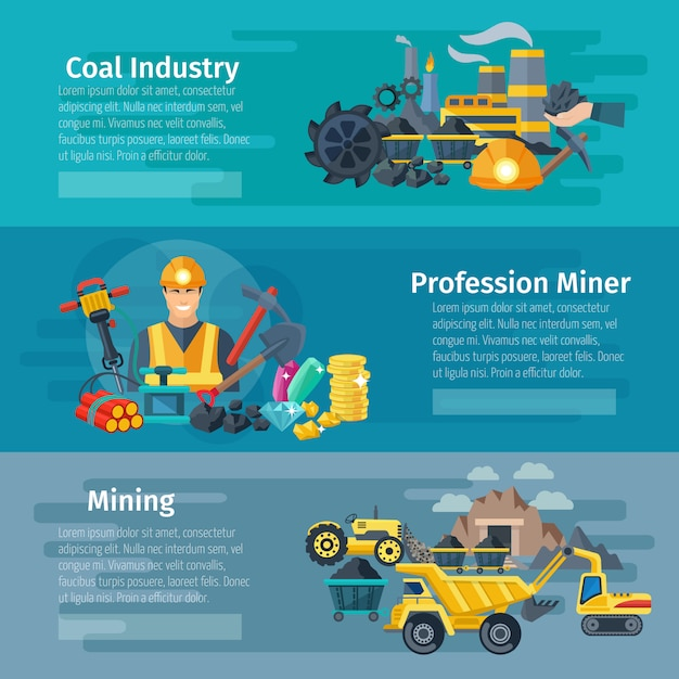 Mining horizontal banner set with coal industry flat elements Free Vector