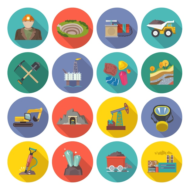 Mining icons flat Free Vector