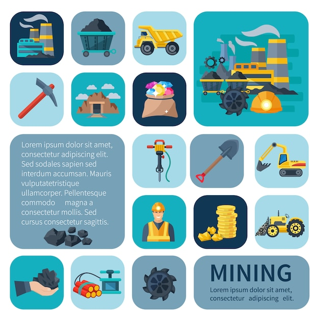 Mining icons Free Vector