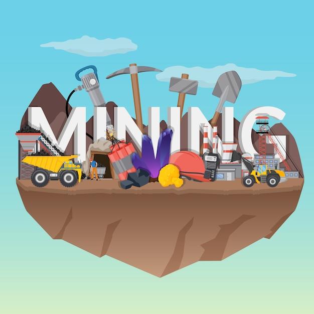 Mining illustration Free Vector