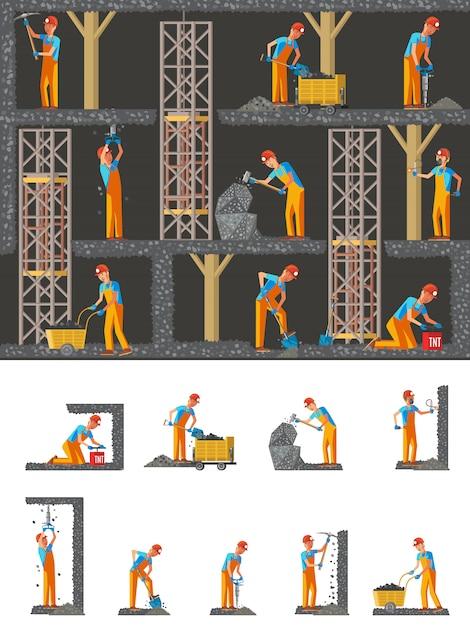 鉱業フラット構成 無料ベクター