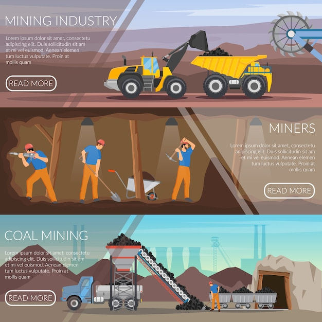 Mining industry horizontal flat banners Free Vector