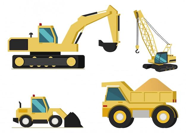 Mining industry machines vector set Premium Vector