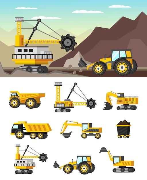 Illustrazione e icone ortogonali di concetto di industria mineraria Vettore gratuito