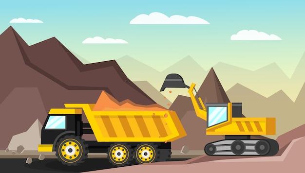 鉱業業界の直交図 Premiumベクター