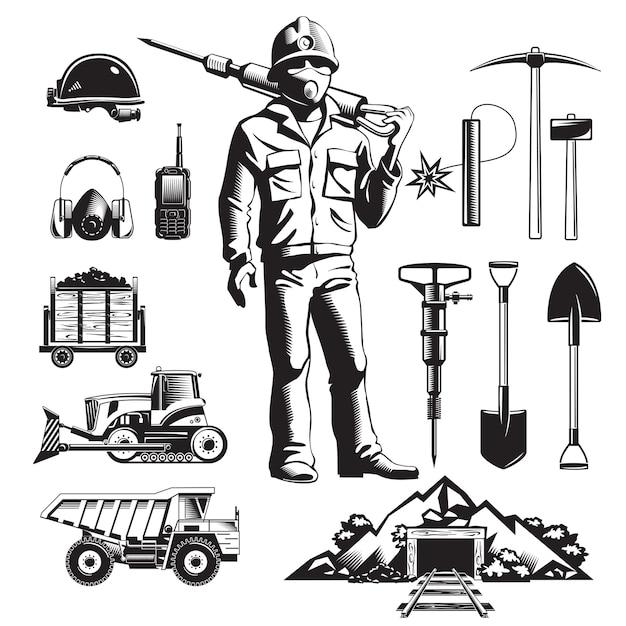 Набор старинных иконок горнодобывающей промышленности Бесплатные векторы