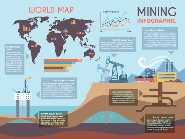 Mining infographics set Free Vector