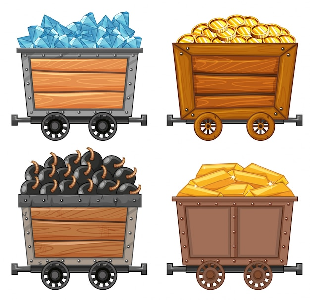 Mining objects on wooden wagon illustration Free Vector