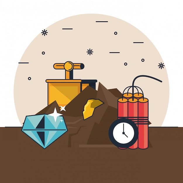 Mining and tools Premium Vector