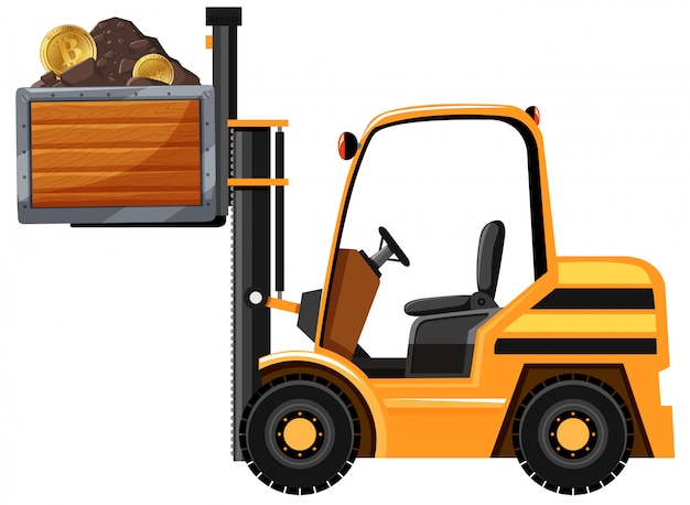 Mining tractor and bitcoin Free Vector