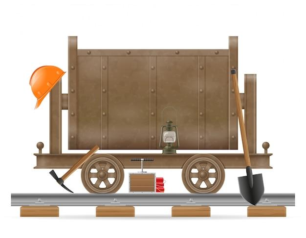 Mining trolley cart vector illustration Premium Vector