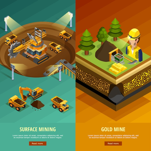 Mining vertical banners set Free Vector