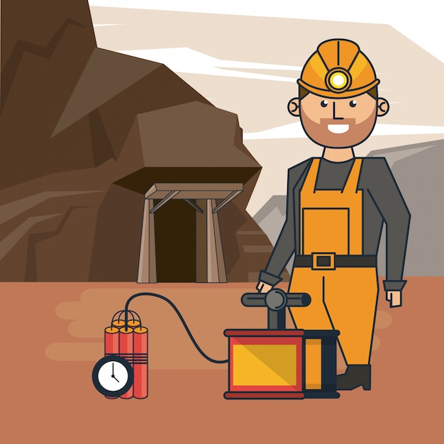 Mining worker cartoon Premium Vector