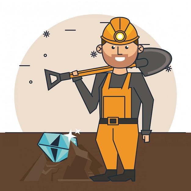 Mining worker cartoon Premium Vector