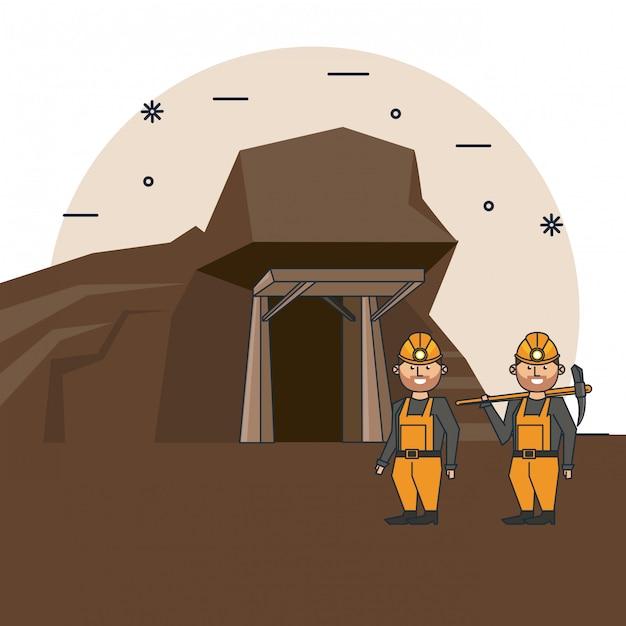 Mining workers cartoon Premium Vector