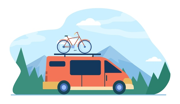 Minivan with bike on top moving in mountain. vehicle, transport, bicycle trip flat illustration. Free Vector