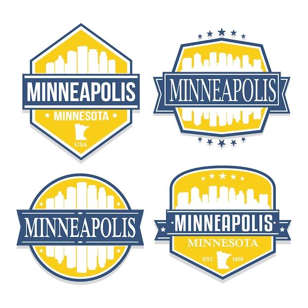 Minneapolis minnesota set of travel and business stamp designs Premium Vector