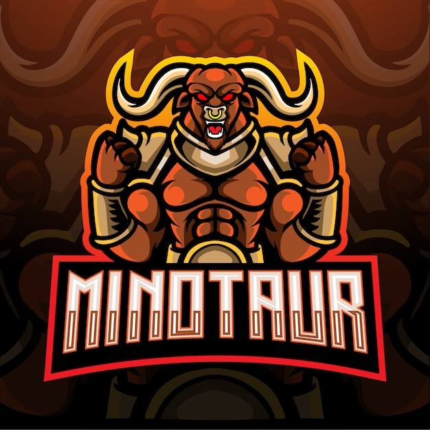 Minotaur esport логотип талисман дизайн. Premium векторы