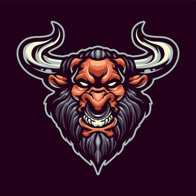 Minotaur head талисман логотип для спорта и esport изолированы Premium векторы