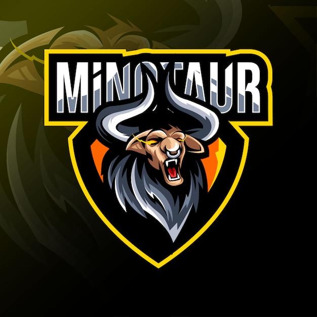 Минотавр талисман логотип дизайн киберспорт Premium векторы