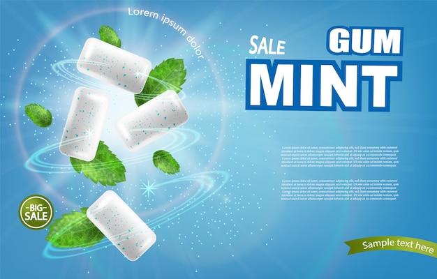 Mint chewing banner Premium Vector