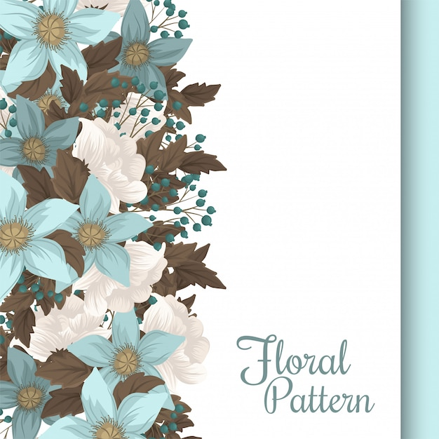 Mint Green Floral Background Flower Border Vector Free