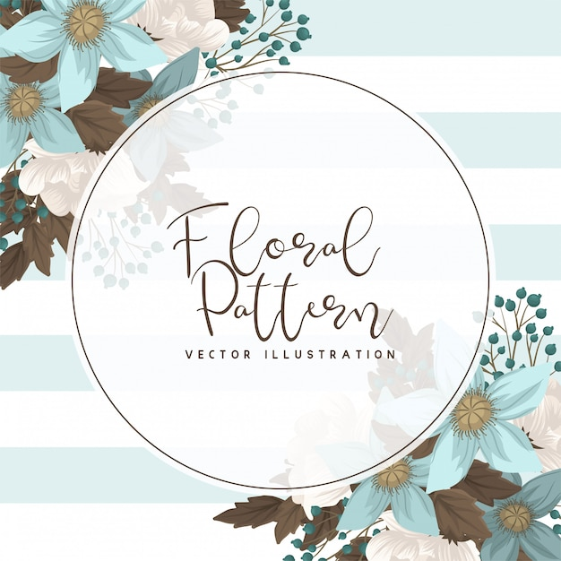 Mint Green Floral Circle Border Vector Free Download