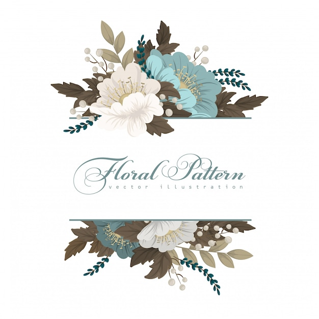 Mint green floral  flower border Free Vector