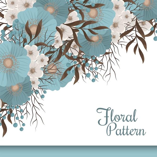 Mint green floral flower border Free Vector