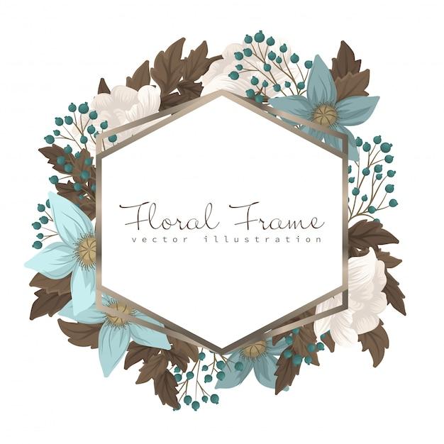 Mint green floral frame flower border Free Vector