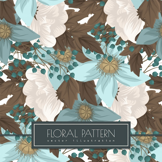Mint green floral  seanless Free Vector