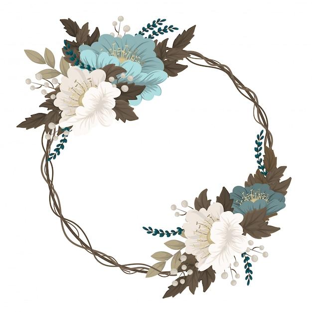 Mint green floral  wreath border Free Vector