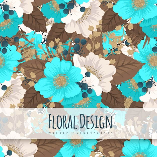 Mint Green Flower Background Seamless Pattern Vector Free