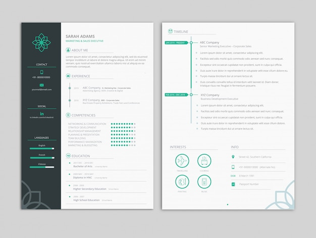 Mint theme resume template Premium Vector