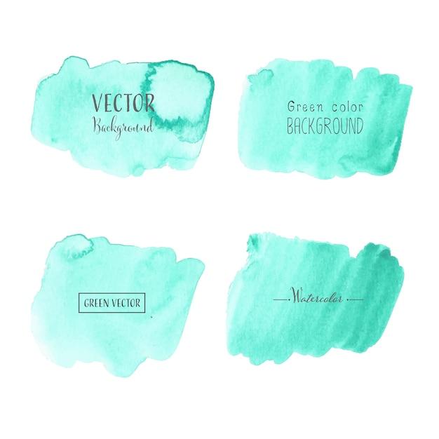 Mint watercolor background, pastel watercolor logo Premium Vector