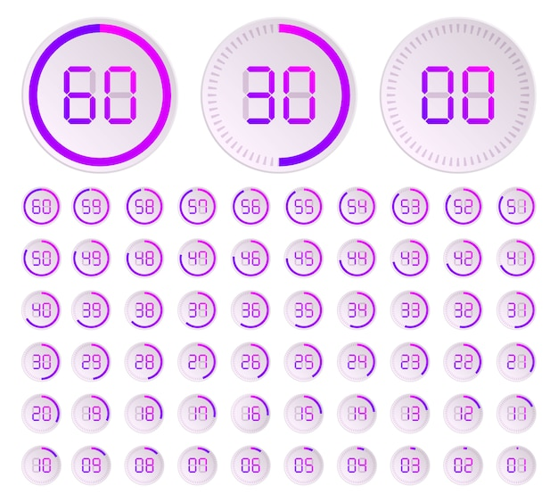 The minutes, stopwatch vector icon, digital timer. Premium Vector