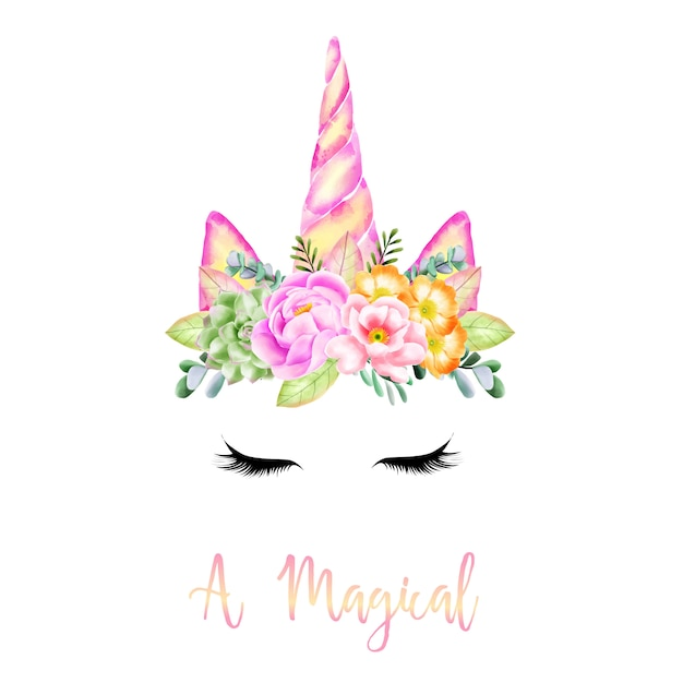 The miracle of a flower-horned unicorn Premium Vector