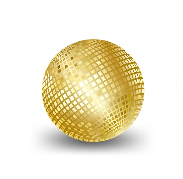 Mirror ball gold, elements for artwork greeting gift box holiday background cards Premium Vector
