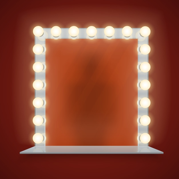 Mirror in bulbs frame with makeup table vector illustration Premium Vector