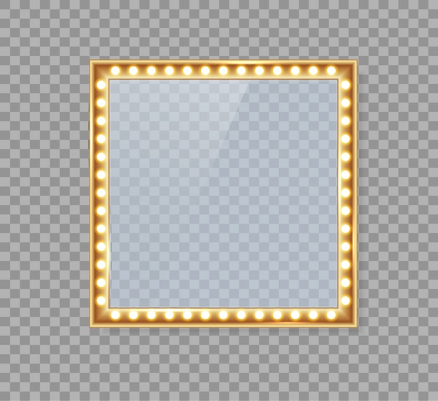 Mirror in frame with gold lights for makeup lights. Premium Vector