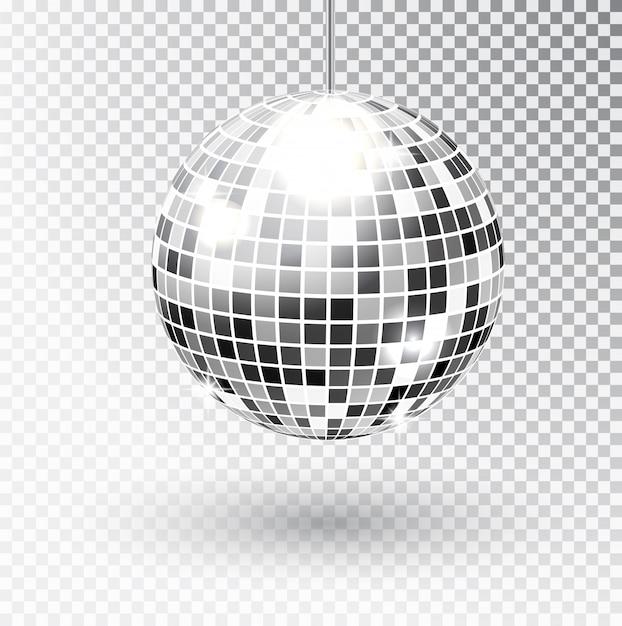 Mirror glitter disco ball vector illustration. night club party light element. bright mirror silver ball design for disco dance club. vector Premium Vector
