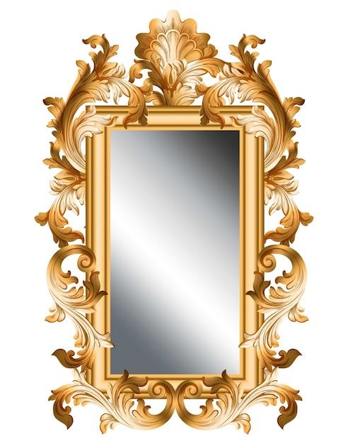 Mirror golden frame Vector realistic 3d volume design Vector ...